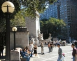 View from the benchmark of the plaza in front of Merchant's Gate, 59th St.