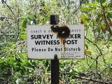 The sign on the witness post.