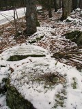 The mark is set in top and in approximately the center of the boulder. A blazed tree can be seen just beyond the mark.