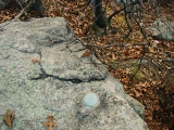 Eyelevel view of the reference mark on the outcrop.