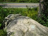 Eyelevel view of disk on boulder.