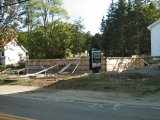 Manset Union Church. New foundation being built.