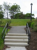 These steps lead from the municipal pier parking area to Agamont Park.