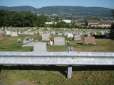 Looking W over cemetery, toward Radicchi headstone; Hubbard Mountain in background.