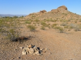 Looking W toward the road and some of the smaller Papago buttes