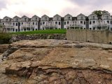 Eyelevel view of the disk from the outcrop; Bar Harbor Inn to the south in background