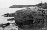 Otter Point Lookout Tower, from Thunder Hole, in an old postcard