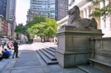 Looking S along the Fifth Avenue entrance to the New York Public Library