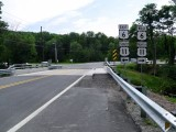 Looking WSW, toward the intersection of Routes 438 with Routes 6 & 11 in La Plume.