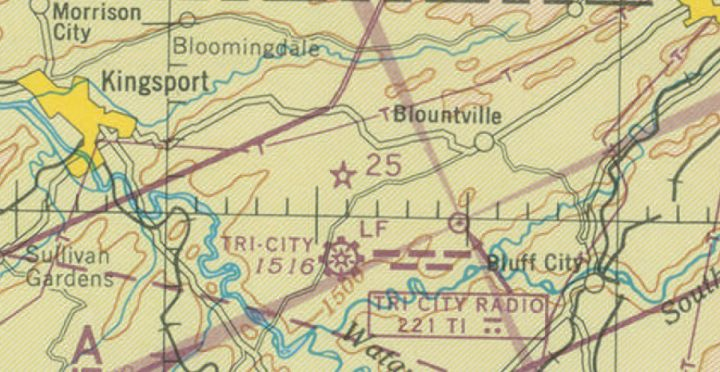 A portion of the 1945 Winston-Salem sectional chart showing the location of Beacon 25 north of the Tri-city airport.