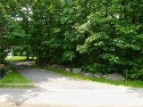 The driveway, and to the right the woods where the mark is located.