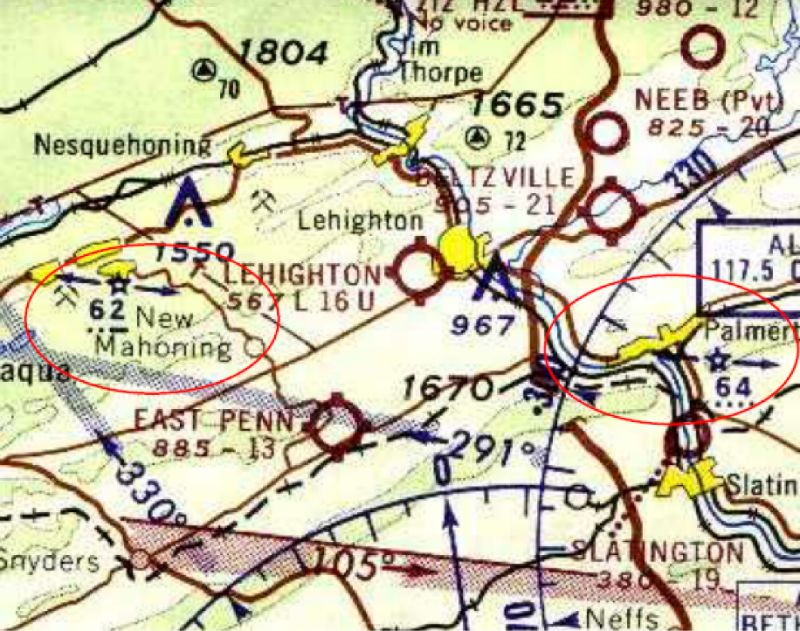 Excerpt of Sectional Chart (unknown date) showing the beacon locations