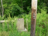 This corner of the abutment was nearly buried in weeds. Nearby pole number K-53-KD.